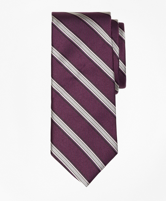 Twill Framed Stripe Tie Purple
