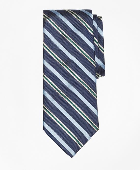 Tonal Alternating Split Stripe Tie Navy