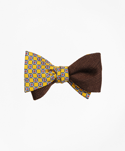 Diamond Link Print with Melange Herringbone Reversible Bow Tie