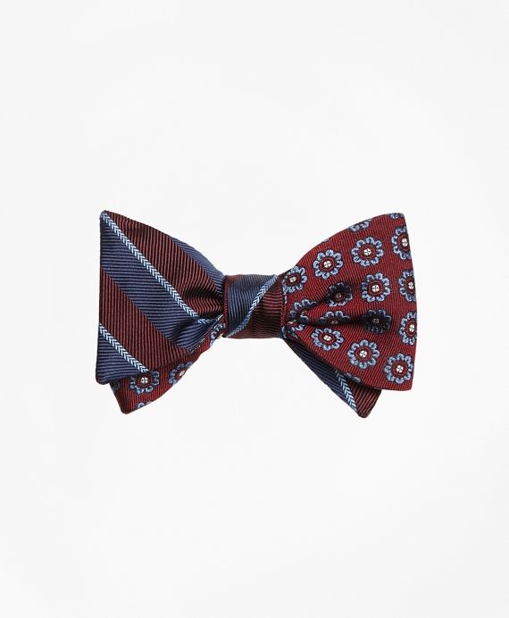 Sidewheeler Guard Stripe with Spaced Flower Reversible Bow Tie Burgundy-Navy