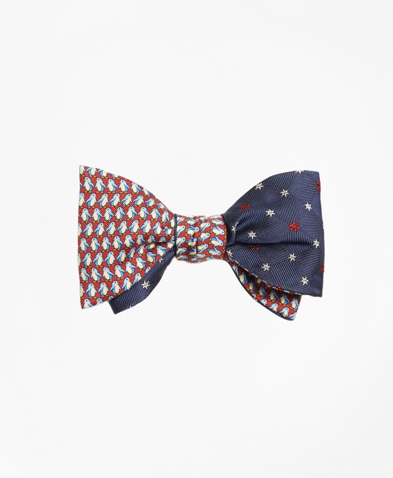 Penguin with Snowflake Reversible Bow Tie Navy-Red