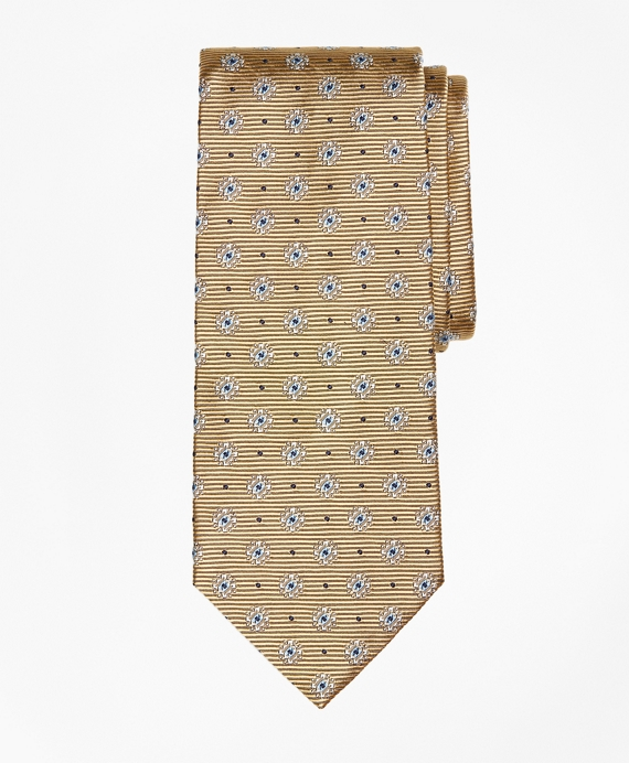 Framed Diamond Medallion Tie Gold