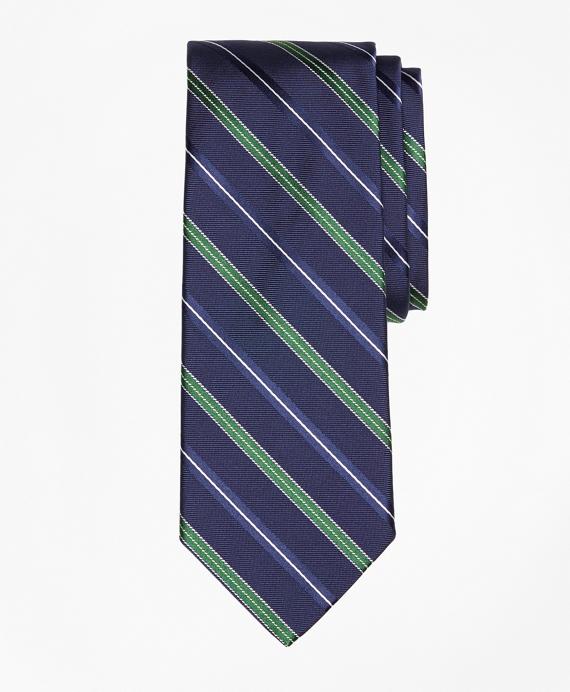 Alternating Split Double Stripe Tie Navy