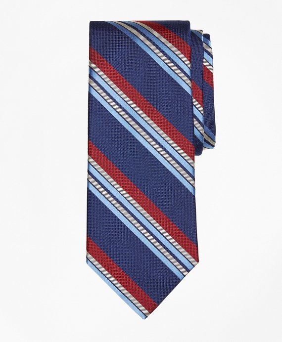 Multi-Textured Sidewheeler Stripe Tie Navy