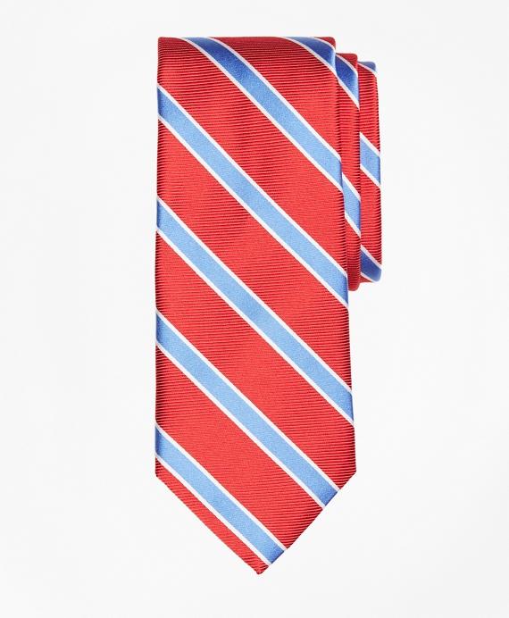 Bold Frame Stripe Tie Red