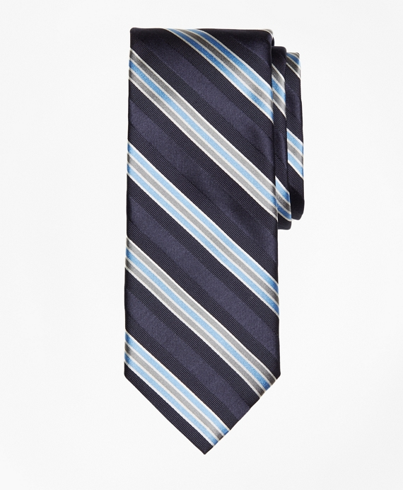 Alternating Frame Stripe Tie Navy