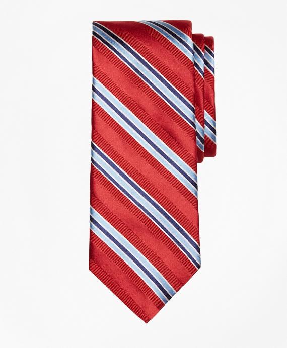 Alternating Frame Stripe Tie Red