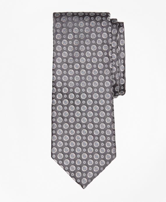 Floral Alternating Medallion Tie Grey