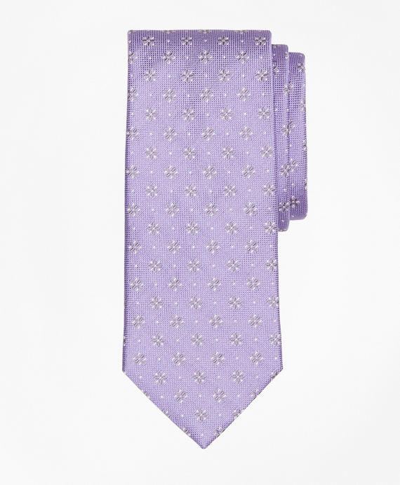 Textured Four-Petal Flower Tie Purple