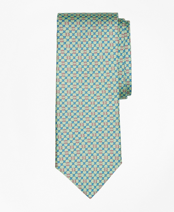 Flag and Raft Print Tie Green