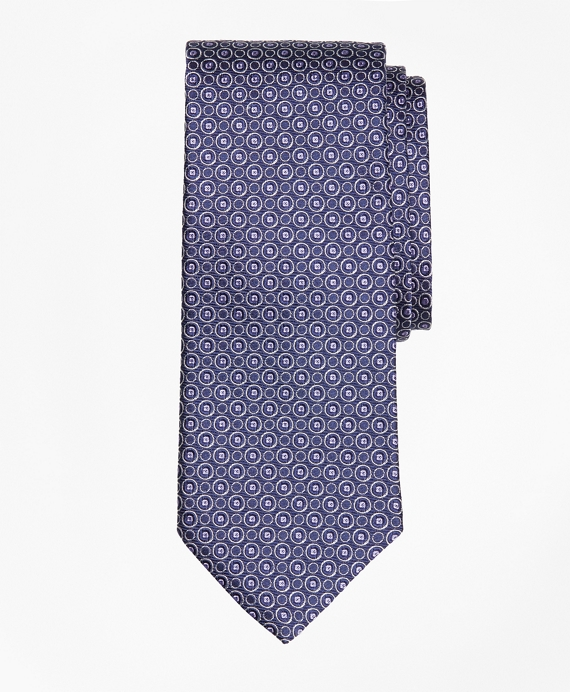 Alternating Open Circle Tie Navy