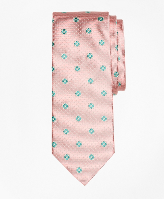 Flower and Mini-Dot Tie Pink