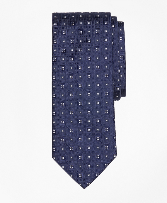 Tonal Square Medallion Tie Navy