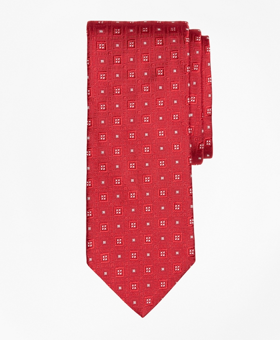 Tonal Square Medallion Tie Red