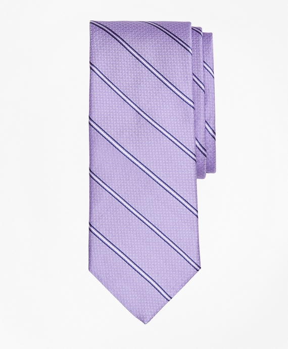 Spaced Framed Stripe Tie Purple