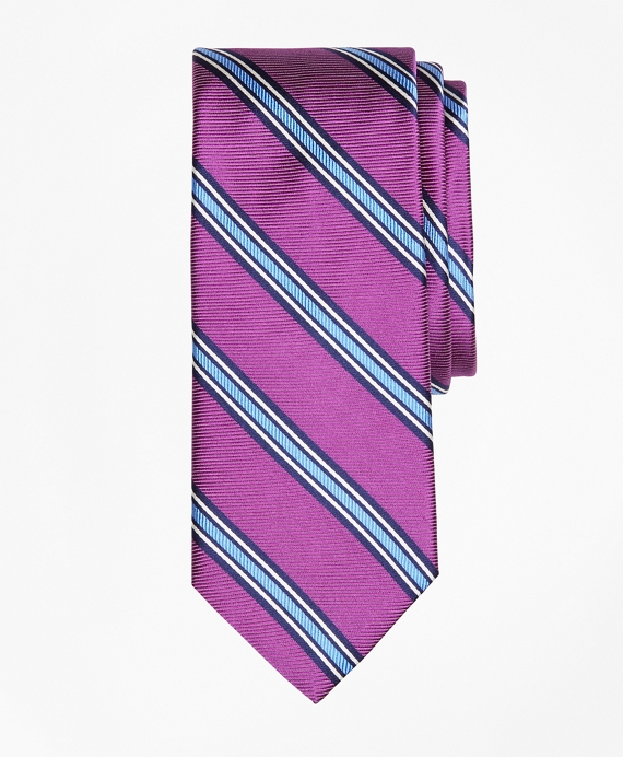Double-Framed Stripe Tie Purple
