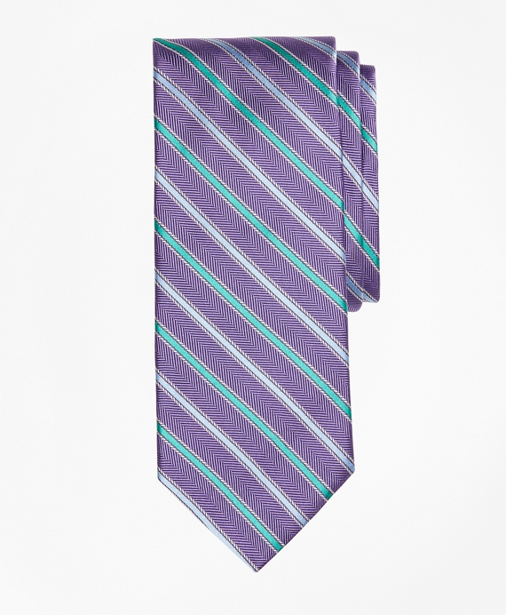 Alternating Rope Framed Stripe Tie Purple
