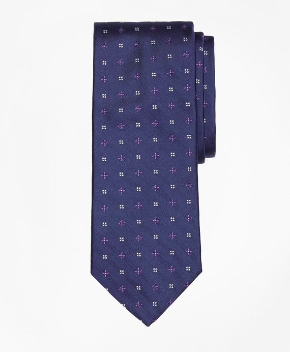 Mini-Dot and Flower Tie Navy