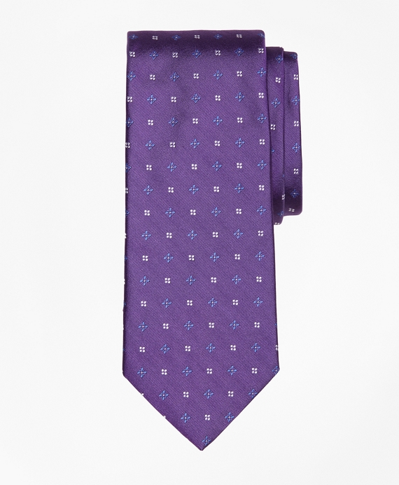 Mini-Dot and Flower Tie Purple
