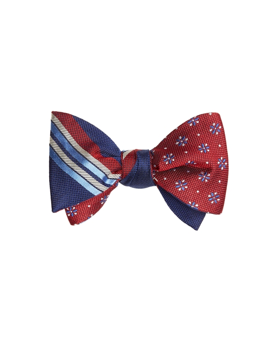Multi-Textured Sidewheeler Stripe with Textured Four-Petal Flower Reversible Bow Tie Navy-Red