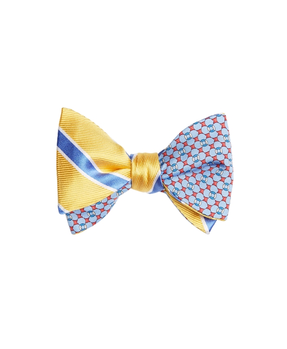 Bold Framed Stripe with Flag and Raft Print Reversible Bow Tie Light Blue-Yellow