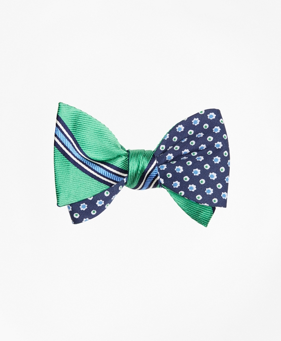 Double-Framed Stripe with Flower and Dot Reversible Bow Tie Green-Navy