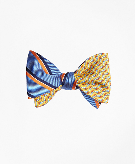 Exploded Herringbone Stripe with Windboard Print Reversible Bow Tie