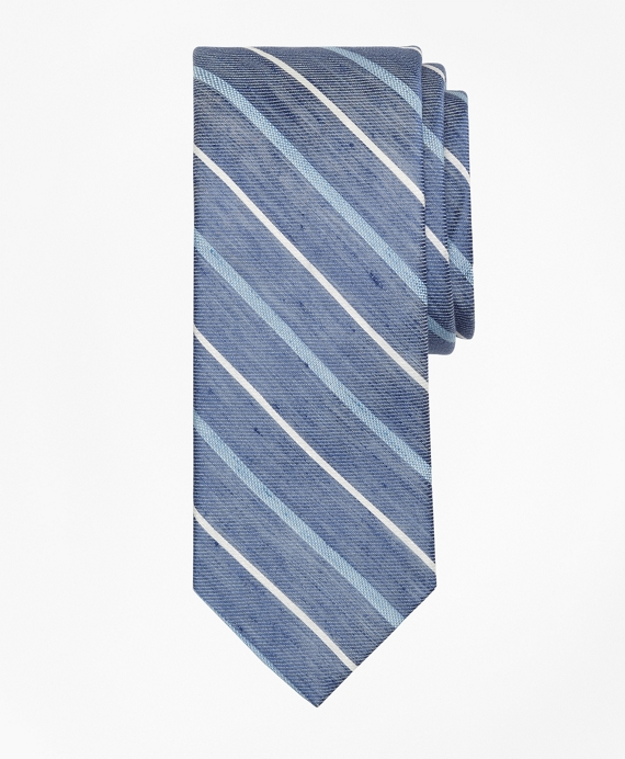 Linen Thick and Thin Stripe Tie Navy
