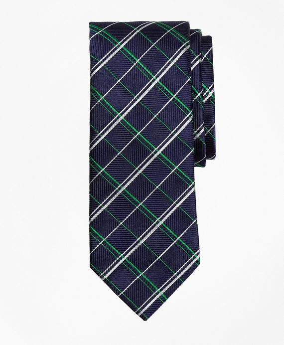 Double Alternating Windowpane Tie Green