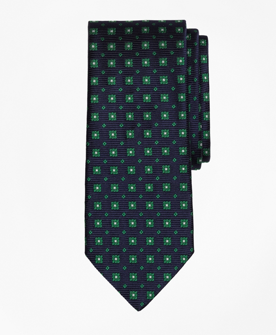 Flower and Square Tie Green
