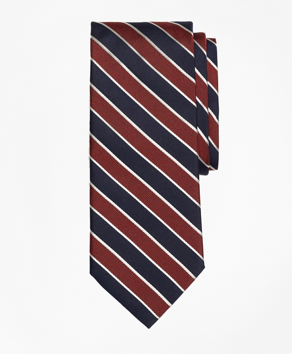 Framed Alternating Stripe Tie Red