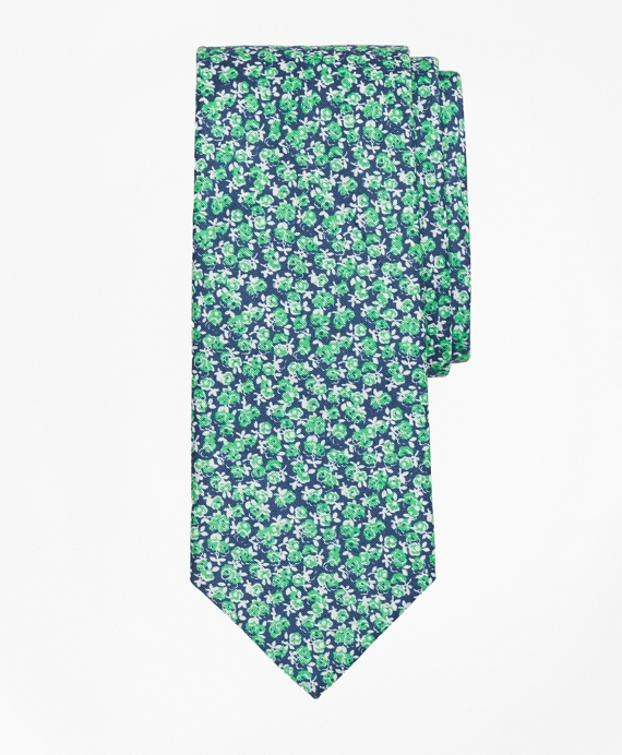 Mini Rose Print Tie Green