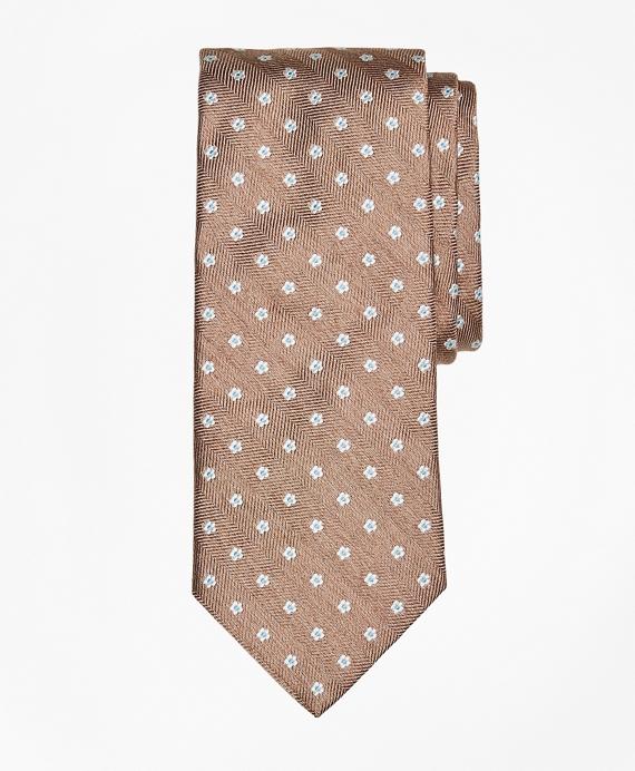 Herringbone Ground Flower Tie Tan
