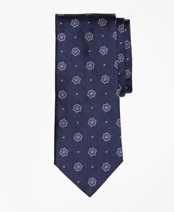 Parquet Ground Flower and Square Tie Navy
