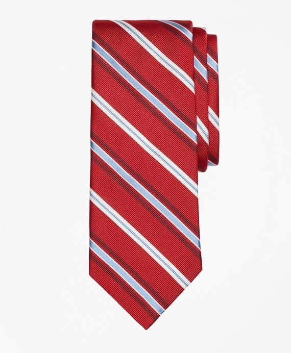 Alternating Split Stripe Tie Red
