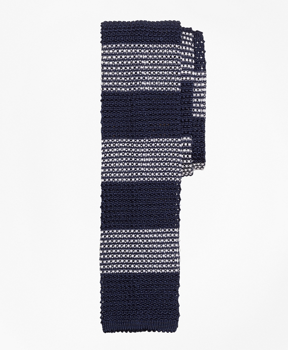 Knit Stripe Tie Navy