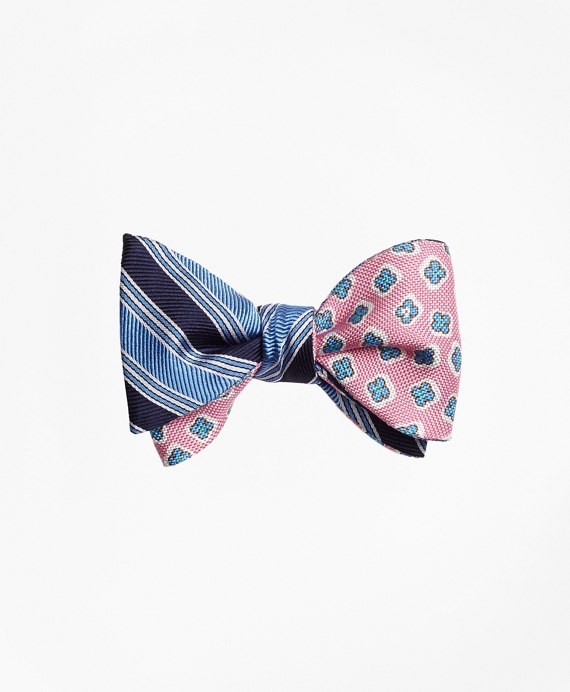 Split BB#1 Stripe with Panama Tossed Flower Print Reversible Bow Tie Blue-Pink