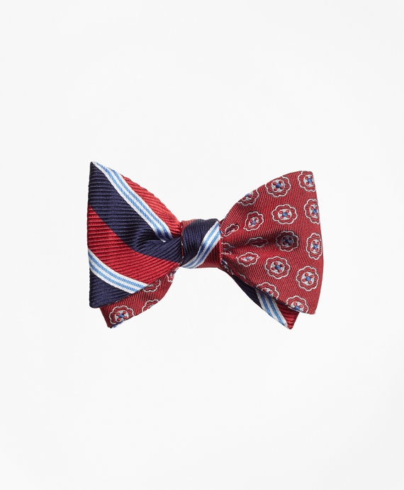 BB#1 Stripe with Double Stripe Reversible Bow Tie Red