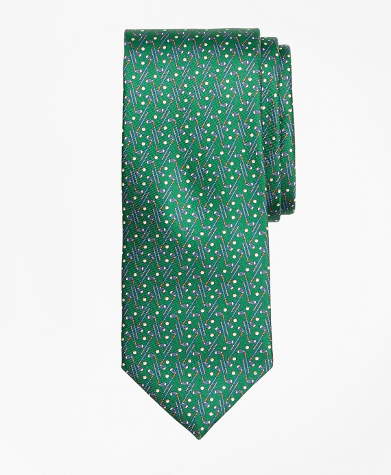 Golf Motif Print Tie Green