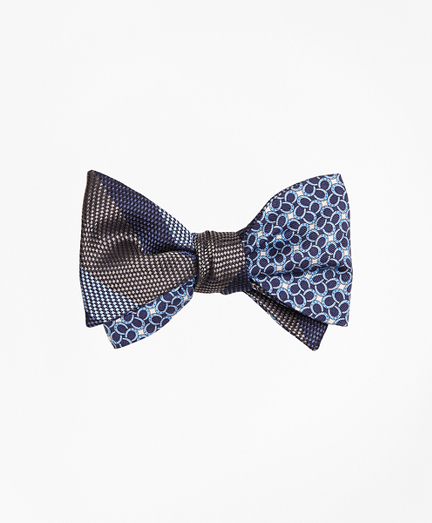 Dotted Herringbone Stripe with Horseshoe Motif Reversible Bow Tie
