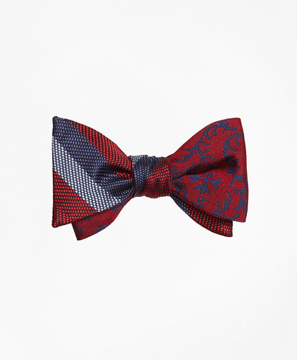 Dotted Herringbone Stripe with Vines Reversible Bow Tie