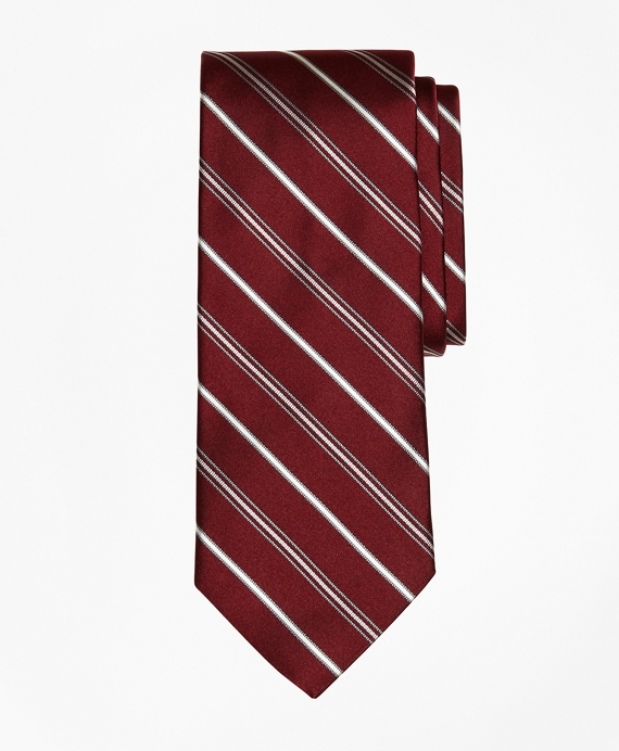Alternating Stripe Tie Burgundy