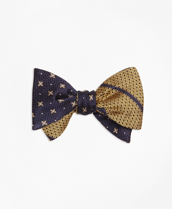 X and Dot with Textured BB#3 Stripe Reversible Bow Tie Navy-Yellow