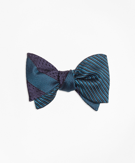 Framed Textured Stripe with Horizontal Textured Reversible Bow Tie