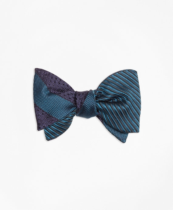 Framed Textured Stripe with Horizontal Textured Reversible Bow Tie Green