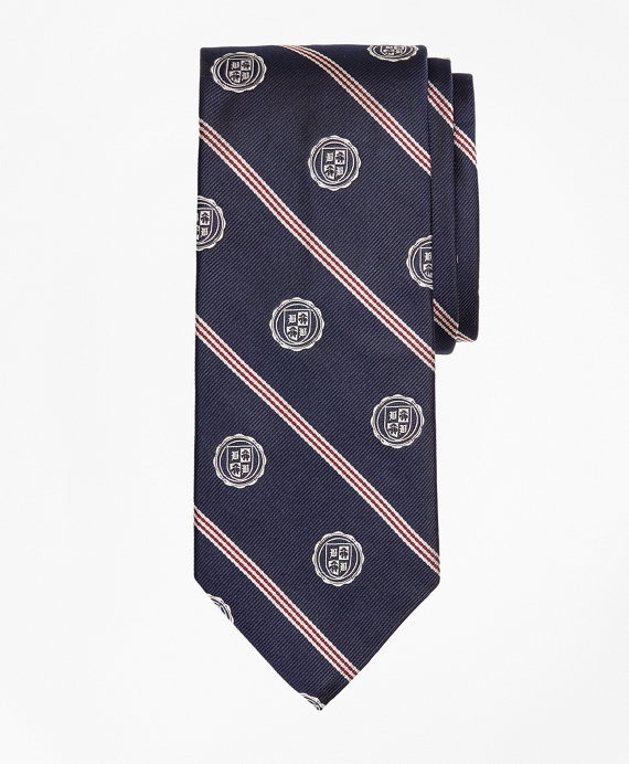 Micro-BB#1 Stripe with Crest Tie Navy