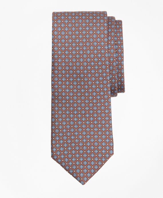 Flower and Diamond Print Tie Brown