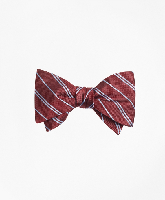 Alternating Stripe Bow Tie Burgundy