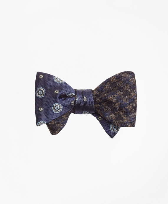 Spaced Medallion with Multi-Check Reversible Bow Tie Blue-Brown
