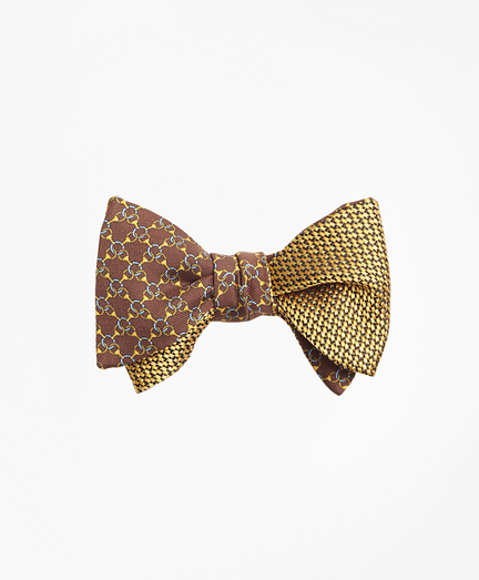 Chain Link Print with Tonal Solid Reversible Bow Tie
